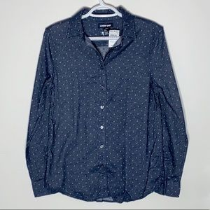 Land's End textured navy cotton flannel shirt 2
